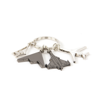 Dassault Aviation 3 Planes & Delta Clover Key Ring